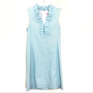 Lilly Pulitzer Seersucker Blue and White Dress